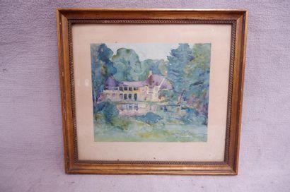 """Ecole du XXe siècle. """"Petit Trianon"""", 15 aout 1922. Aquarelle signée (?) et datée..."""