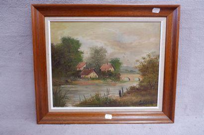 A.VARNET (XXe siècle). Paysage. Huile sur toile signée en bas à droite. 33 x 41...