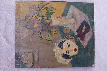 ANABEL (XXe siècle). Nature morte au masque. Huile sur toile signée sur le châssis....