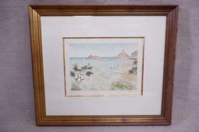 """LOYER (XXe siècle). """"Golfe d'Ajaccio"""". Aquarelle signée en bas à droite et titrée..."""