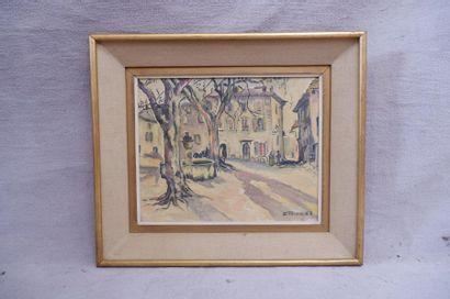 TEICH D. Place de village à Vaison-La-Romaine, 1963. Huile sur toile signée et datée...