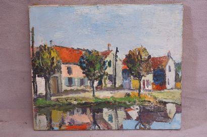 Ecole du XXe siècle. Village près de la rivière....