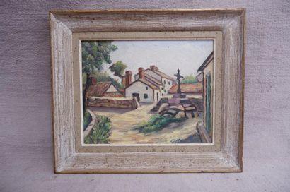 Ecole du XXe siècle. Village. Huile sur panneau...