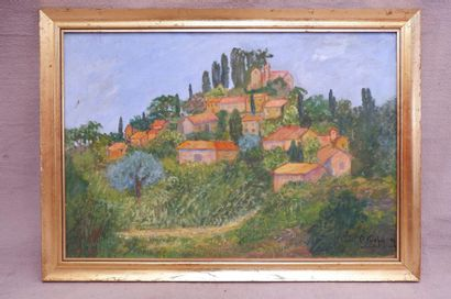 Ecole du XXe siècle. Vue de village, 1992....