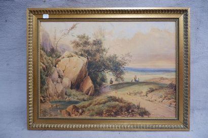 Ecole du XIXe siècle. Sur le chemin. Aquarelle. 38 x 53 cm