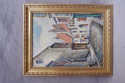 KAZIK (XXe siècle). Ruelle. Huile sur toile...