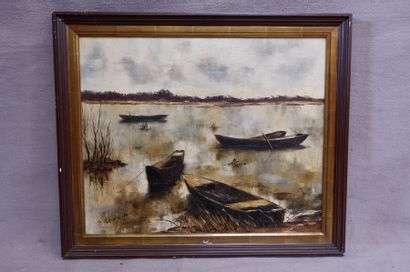P. BRUNO (XXe siècle). Quatre barques. Huile...