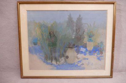 Yvonne PERRY (XXe siècle). Au jardin. Aquarelle...