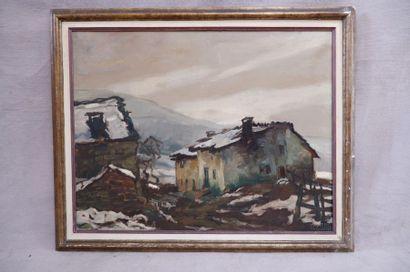 Georges BOUILLON (1891-1943). Village des Ardennes sous la neige. Huile sur toile...