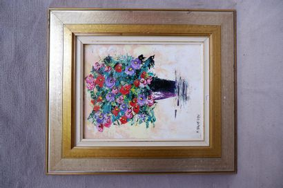 Marc VIGNERON (1956). Nature morte au bouquet...