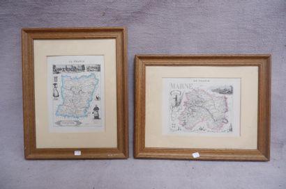 Cartes de la Marne et de la Mayenne. Deux...
