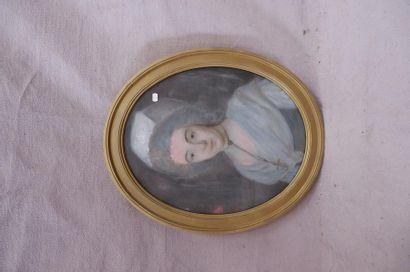 Ecole du XIXe siècle. Portrait de femme à...