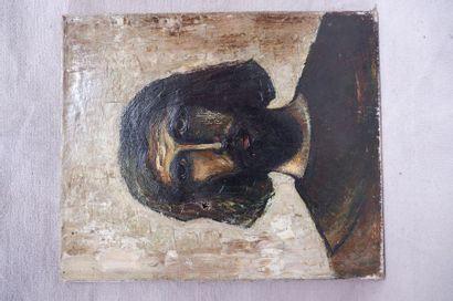 Ecole du XXe siècle. Portrait d'homme barbu....