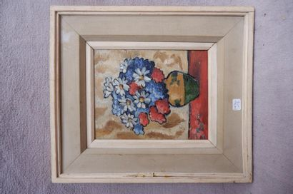Ecole du XXe siècle. Bouquet de fleurs. Huile sur toile. 24 x 19 cm