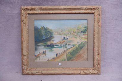 Ecole du XXe siècle. Vue de la Seine depuis Sèvres. Aquarelle sur papier. 34,2 x...