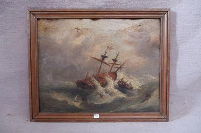 Ecole du XIXe siècle. La tempête. Huile sur toile (accidents). 43,5 x 55,5 cm