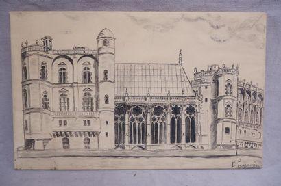 F. LACOMBA (XXe siècle). Vue de la chapelle du château de St Germain en Laye. Dessin...