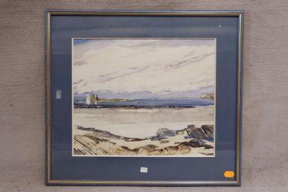 ROLAND (XXe siècle). Vue de plage, 1991. Technique mixte. 37 x 45 cm