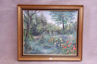 Dominique BAKK (1953). Jardin normand. Huile...