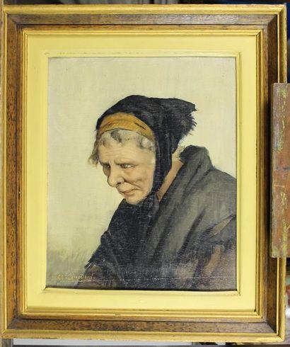Ecole française du XIXe siècle. Portrait de bretonne. Huile sur panneau signé en...