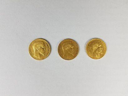 Lot de trois pièces de vingt francs or Napoléon...