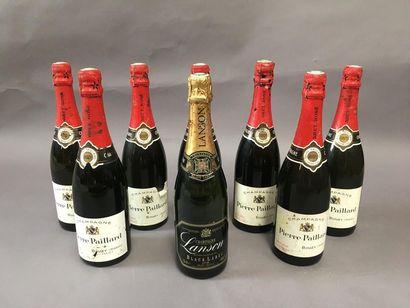7 bouteilles de champagne rosé brut Pierre...