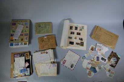 5 classeurs: Monde Entier dont France (faciale), Asie (Chine, Vietnam), lettres...