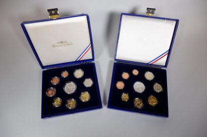 Monnaie de Paris. 2 coffrets 2007-2008. 18...