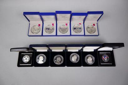 5 médailles Monnaie de Paris argent 900°/°°...