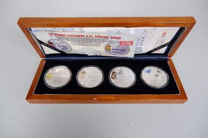 4 pièces 10 Yuan argent colorisées JO Pékin...