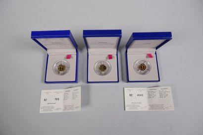 3 pièces de 1 centime de franc - 2 de 2001...