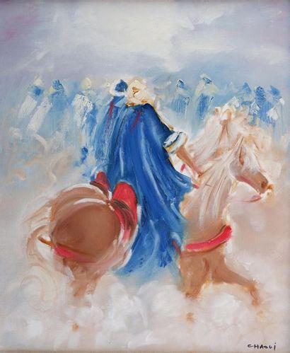 Salah-Eddine CHAOUI (1944) Cavaliers. Huile...
