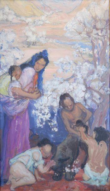 BARRY (XXe siècle) Femme et enfants asiatiques....