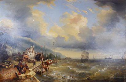 FONECHE (XIXe siècle) Le port de pêche. Huile...