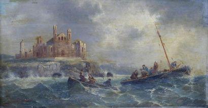 Henri VAN WYK (1833-?) Les barques par gros...