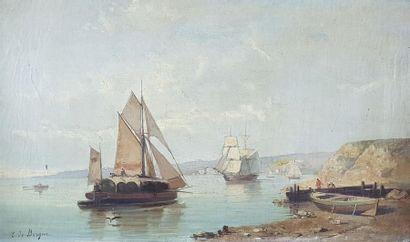Tony François DE BERGUE (1820-1890) Bateaux...