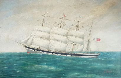 Albert STEEL (c.1915) Marine. Huile sur toile...