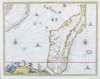 Carte de Madagascar. Gravure à rehauts d'aquarelle....