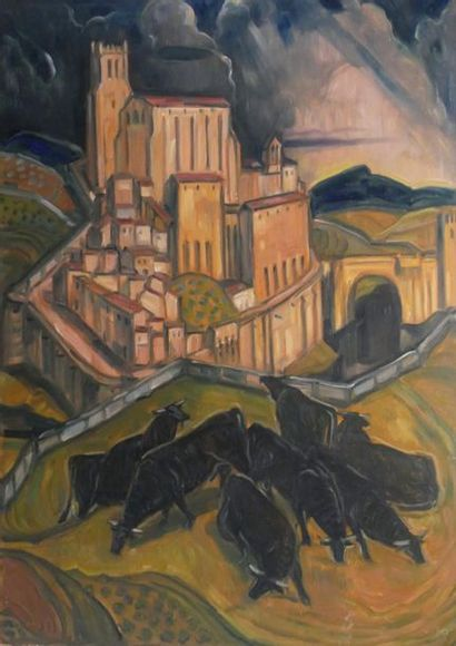 André MAIRE (1898-1984) Les taureaux noirs...