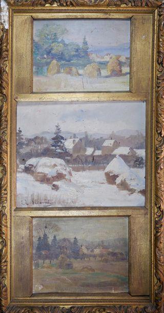 A. LECOMTE (XXe siècle) Trois paysages aux...