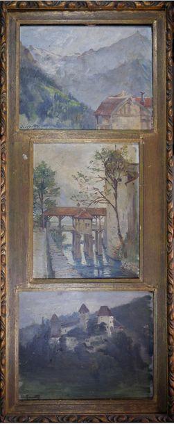 A. LECOMTE (XXe siècle) Trois paysages. Huile...