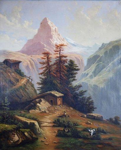Ecole du XIXe siècle Paysages de montagne....