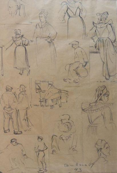 Eliane ROUGET (XXe siècle) Etudes de Bretons,...