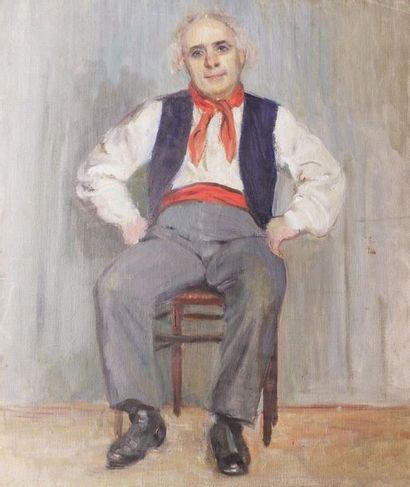 Moussia TOULMAN (1903-?) L'homme assis. Toile...