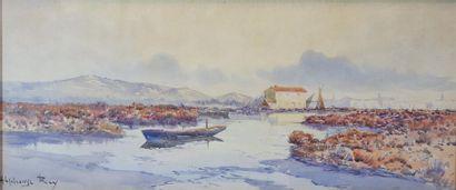 Alphonse REY (1863-1938) Au bord de la lagune....