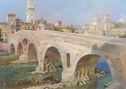 G. MONTY (XXe siècle) Le vieux pont, 1961....