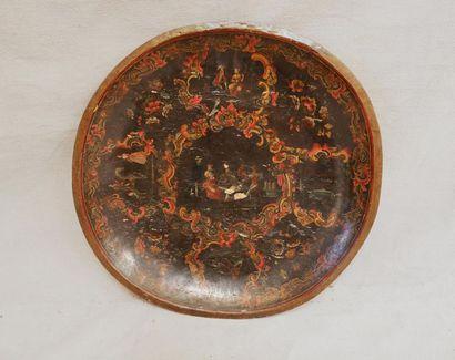 QUICAJA ou BATEA circulaire en bois laqué...