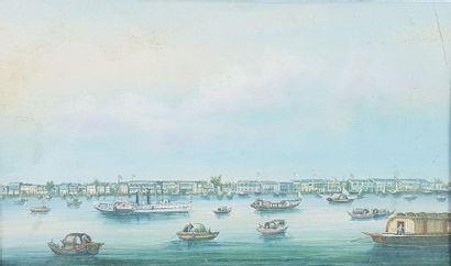 Ecole du XIXe siècle. Vue de port asiatique....