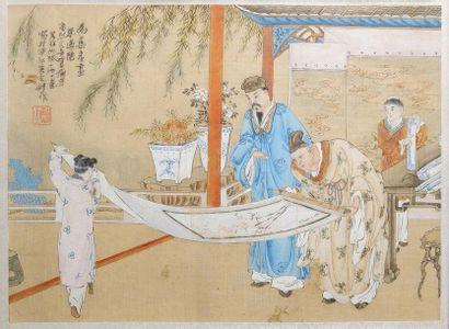 Ecole chinoise Scènes animées figurant des...