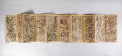 Petit manuscrit pliant illustré de cinq saynètes....